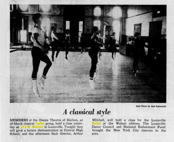 Dance Theatre of Harlem rehearsing at Liberty Hall in 1972