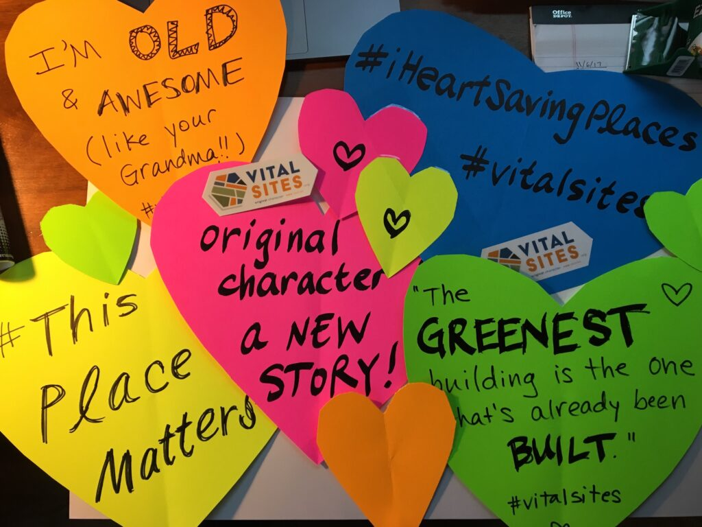 #KEEPLouisville campaign signs shaped like valentines with phrases about preservation